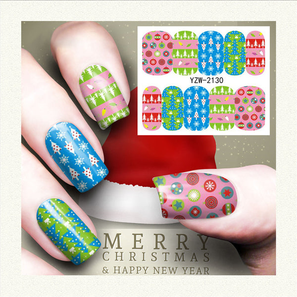 Xmas Candy Holly Theme Christmas Nail Art Stickers Water Transfer Nail Decals