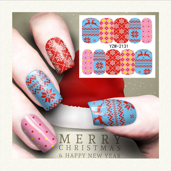 Christmas Snowflake Deer Design Nail Art Stickers Water Transfer Nail Decals