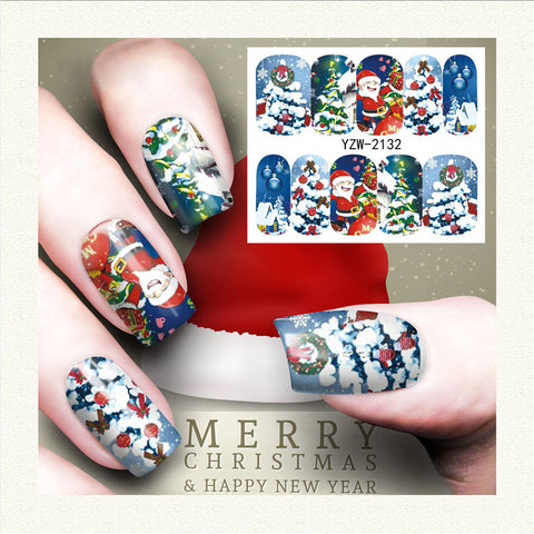 Christmas Tree Santa Theme Nail Art Stickers Water Transfer Nail Decals
