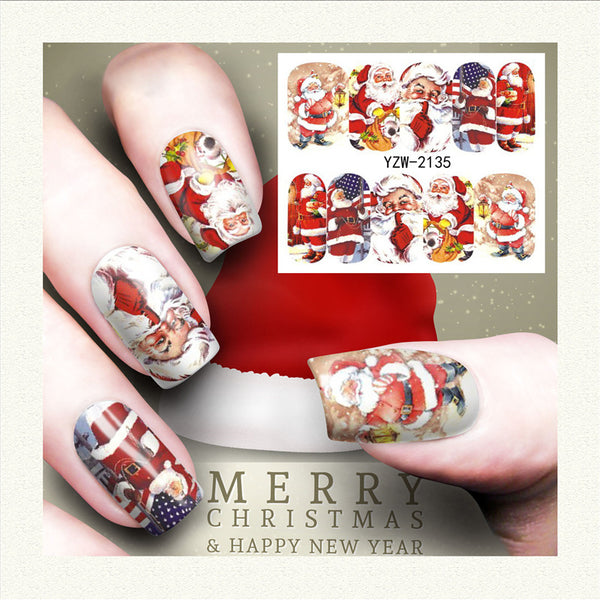 Xmas Snowflake Santa Theme Christmas Nail Art Stickers Water Transfer Nail Decals