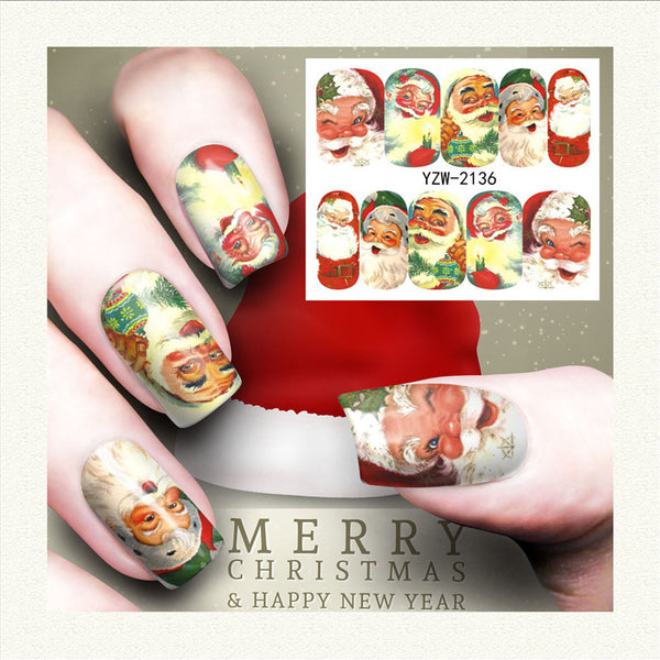 Xmas Design Santa Nail Art Stickers Water Transfer Nail Decals