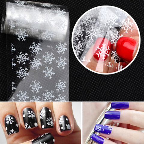2Pcs Holographic Christmas Snowflake Starry Nail Foils Nail Art Stickers