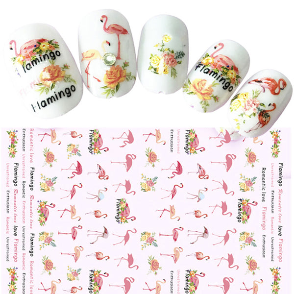 Swan Flamingo Flower Heart Shape Nail Art Stickers