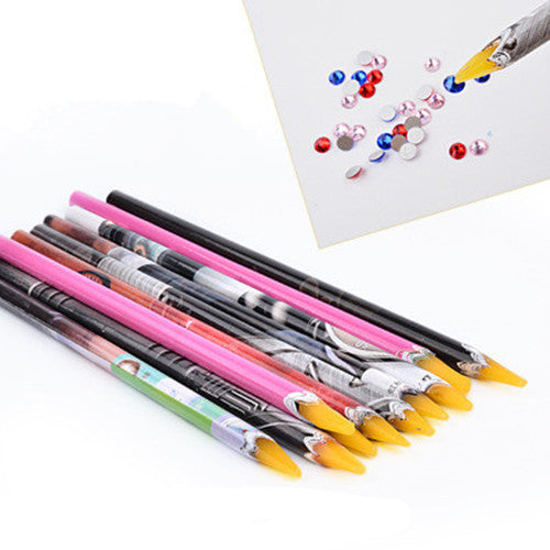 1Pc Rhinestone Picker Pen Wax Pen Nail Manicure Dotting Tool Random Color