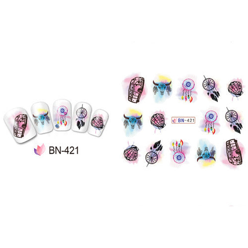 Watercolor Car Dreamcatcher Nail Water Decals Transfer Stickers Nail Accessory