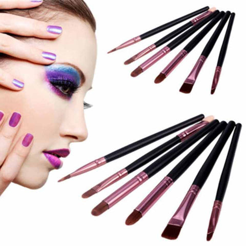 6Pcs Mini Black Handle Blush Eyeshadow Foundation Makeup Brush Set