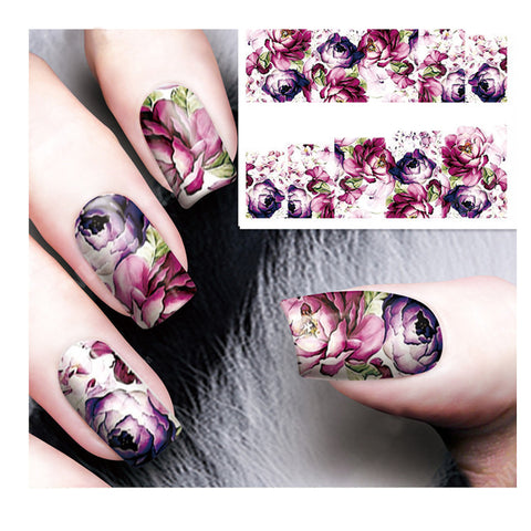 5Pcs Floral Water Decals Transfer Nail Art Stickers For Manicure