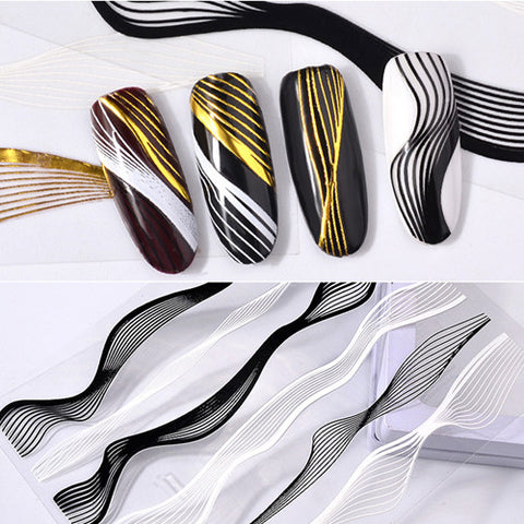 3D Gold Metal Wave Strip Multi-size Lines Nail Stickers For Manicure
