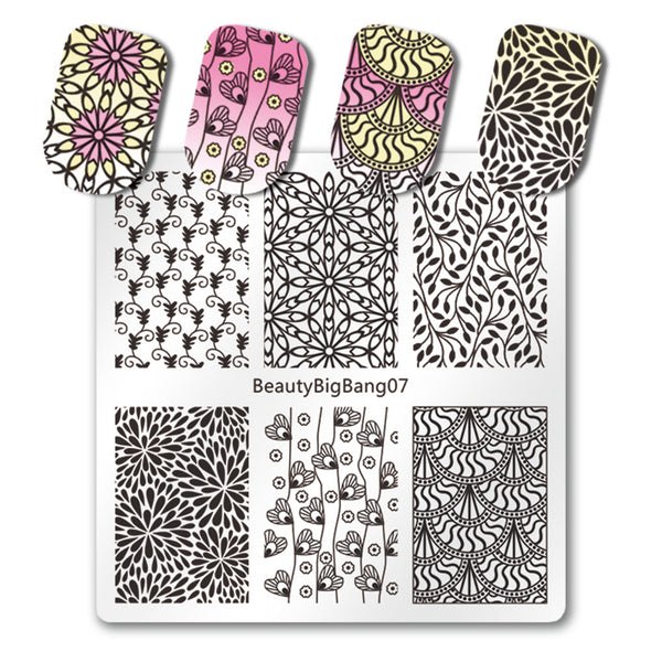 Flower Design Nail Stamping Plate Heart Leaf Theme For Manicure