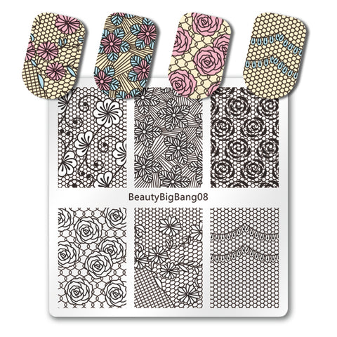 Floral Nail Stamping Plate Rose Flower Spot Pattern For Manicure