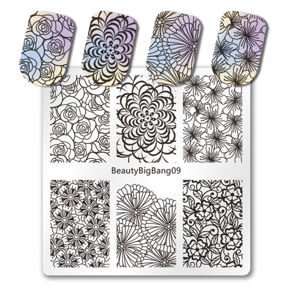 Flower Nail Stamping Plate New Design Pattern