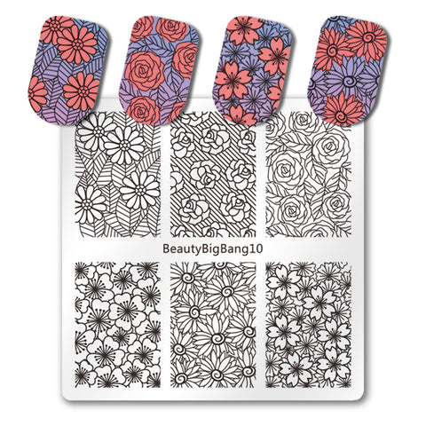 Sun Floral Nail Stamping Plate Rose Flower Pattern Nail Accessory