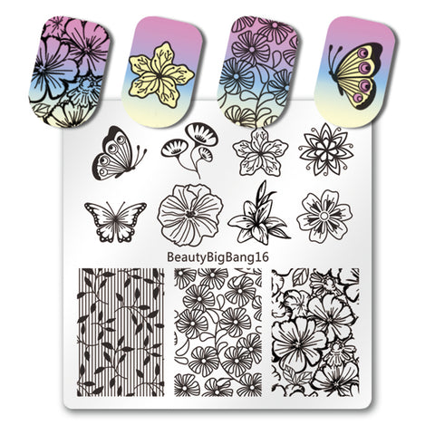Flower Nail Stamping Plate Butterfly Floral Theme Manicure Tool