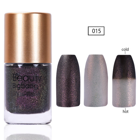 9ML Grey Glitter Temperature Color Changing Thermal Nail Polish For Manicure