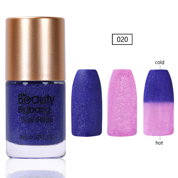 9ML Blue Glitter Temperature Color Changing Thermal Nail Polish For Manicure