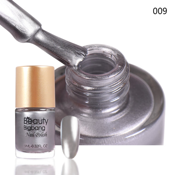 9ML Gray Metallic Lacquer Nail Polish Mirror Effect Nail Varnish 009