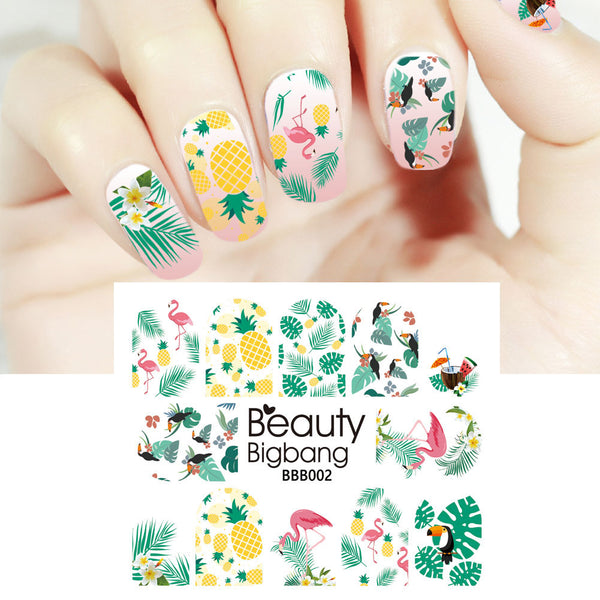Flamingo Pineapple Leaf Design Water Decals Transfer Nail Art Stickers BBB002