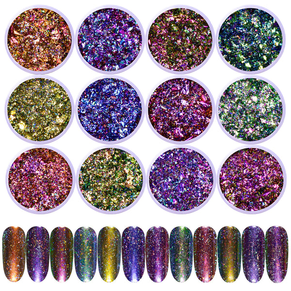 0.1g Chrome Holo Flakes Starry Nail Powder Nail Art Glitters Dust ...