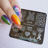 LGBT Pride Love Rainbow Square Nail Art Stamping Plate Heartbeat Theme For Manicure