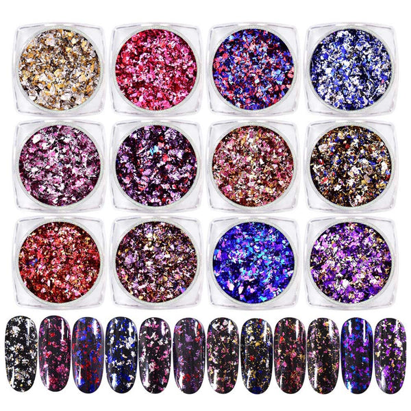 0.2g Laser Colorful Nail Sequins Fireworks Effect Nail Glitters For Manicure