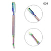 Double-end Rainbow Aurora Stainless Steel Cuticle Pusher Remover Nail Tool
