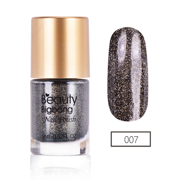 9ML Black Crystal Diamond Glitter Nail Polish For Manicure Nail Art Decoration 007
