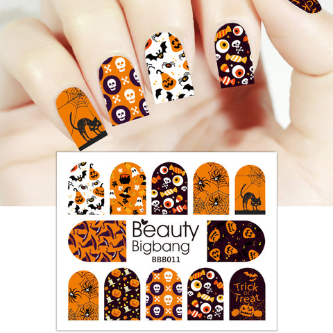 Skull Spider Candy Design Water Decals Transfer Halloween Nail Art Stickers BBB011