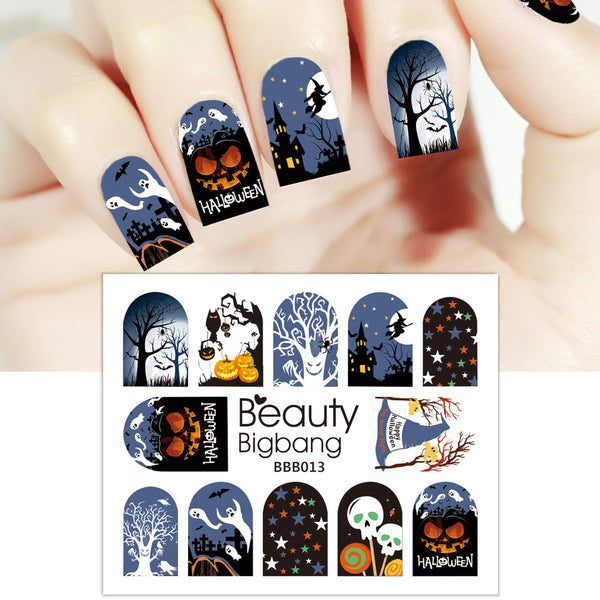 Pumpkin Star Owl Design Water Decals Transfer Halloween Nail Art Stickers BBB013