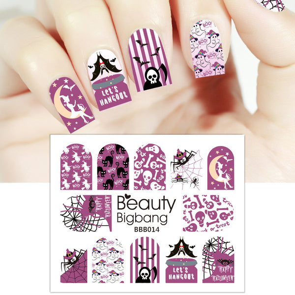 Spider Cat Bat Design Water Decals Transfer Halloween Nail Art Stickers BBB014