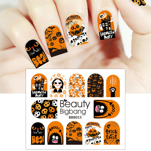 Halloween Series Design Water Decals Transfer Nail Art Stickers BBB015