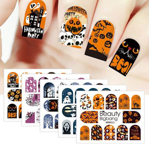 5Pcs Ghost Pumpkin Cat Water Decals Transfer Halloween Theme Nail Art Stickers