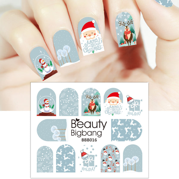 Snow Series Water Decals Transfer Christmas Nail Art Stickers BBB016