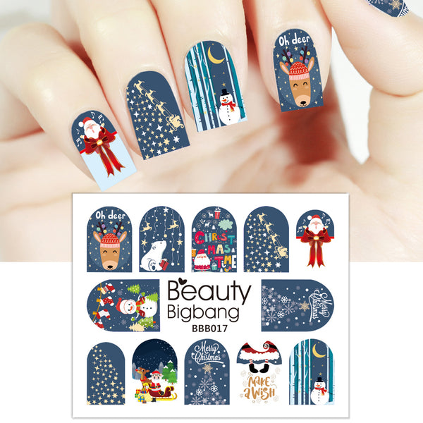 Snowman Deer Star Water Decals Transfer Christmas Nail Art Stickers BBB017