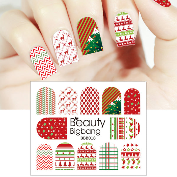 Wave Stripe Christmas Stocking Water Decals Transfer Christmas Nail Art Stickers BBB018