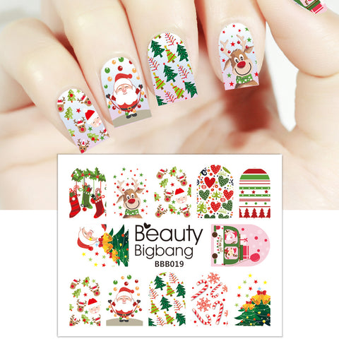 Santa Claus Christmas Tree Jingling Bell Water Decals Transfer Christmas Nail Art Stickers BBB019