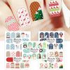5Pcs Snow Stripe Santa Claus Water Decals Transfer Christmas Theme Nail Art Stickers