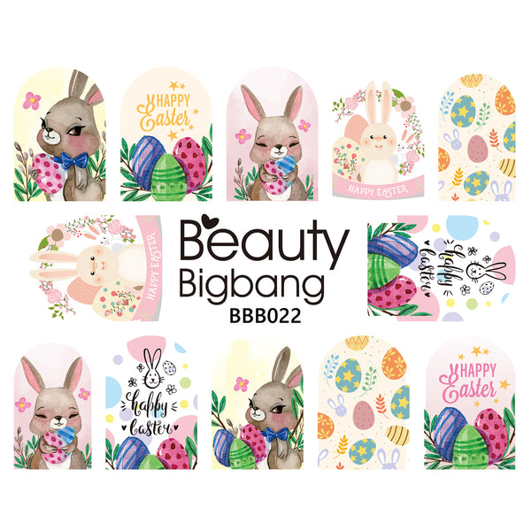 1Pc Rabbit Design Water Decals Transfer Nail Art Stickers For Easter Day BBB022