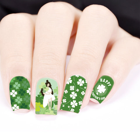 Four-leaf clover Theme Water Decals Transfer Nail Art Stickers For St. Patrick's Day BBB021