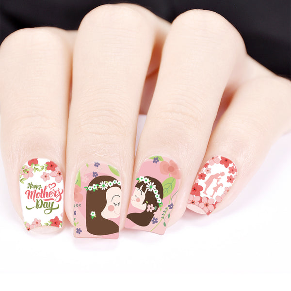 Flower Design Water Decals Transfer Nail Art Stickers For Mother's Day BBB023