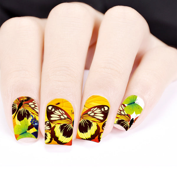 Butterfly Wing Theme Water Decals Transfer Nail Art Stickers BBB028