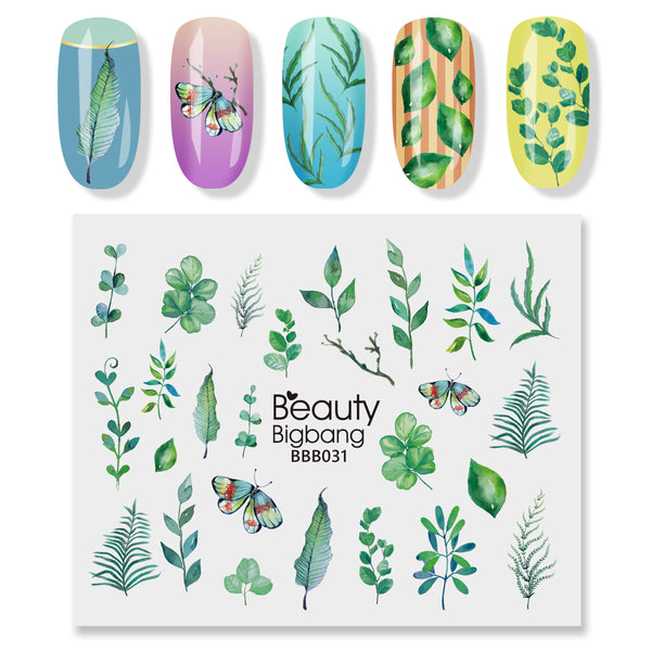 1 Sheet Water Transfer Butterfly leaf theme Nail Sticker Decals