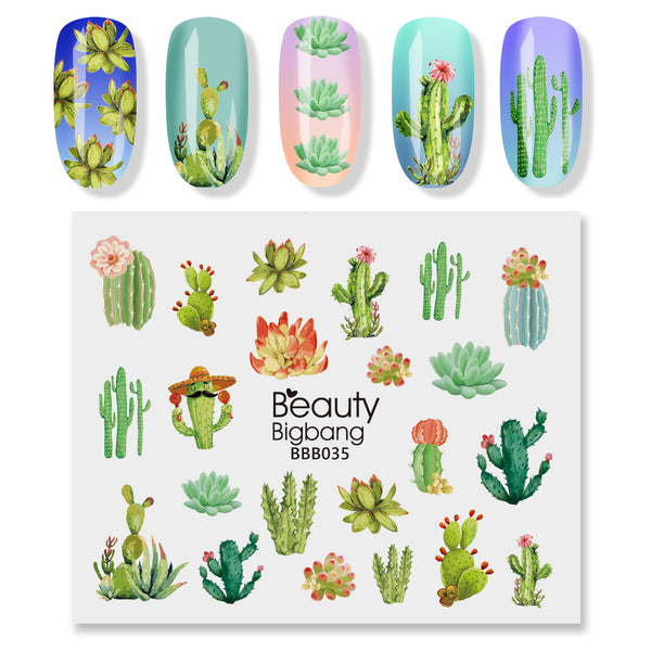 1 Sheet Cactus theme Nail Sticker Decals Nail Decoration