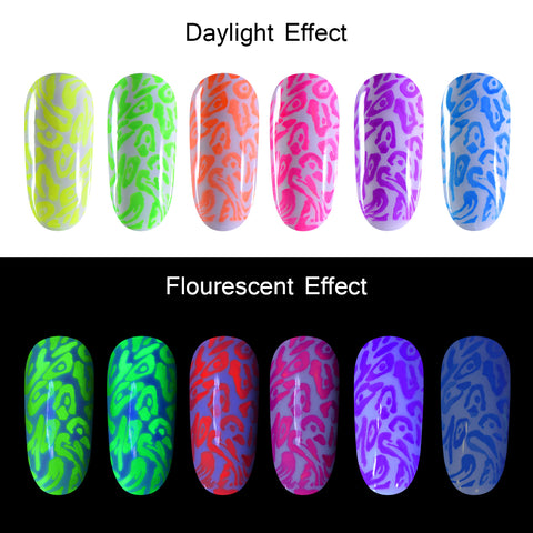 BEAUTYBIGBANG 5ML Fluorescent Neon Nail Stamping Gel Polish Nude Luminous Gel Varnish UV for Nail Art Colorful Gel Lacquer