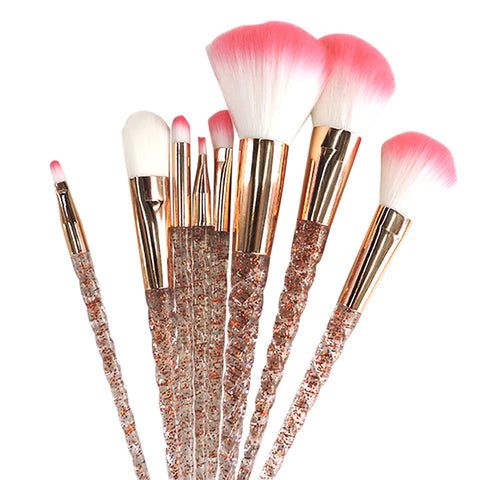 Unicorn Spiral Glitter Diamond Handle Shadow Contour Foundationa Makeup Brushes
