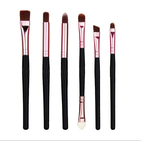 6Pcs Black Eyeshadow Blush Powder Makeup Brushes Kit