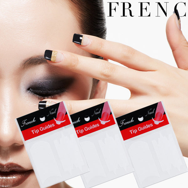 3Pcs Smile Nail French Tips Nail Art Stickers Guide Stencil