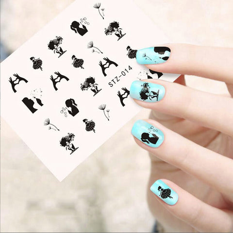 Beauty Girl Design Water Decals Transfer Nail Stickers For Manicure