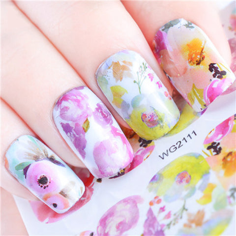 Colorful Flower Rose Design Water Decals Transfer Nail Art Stickers