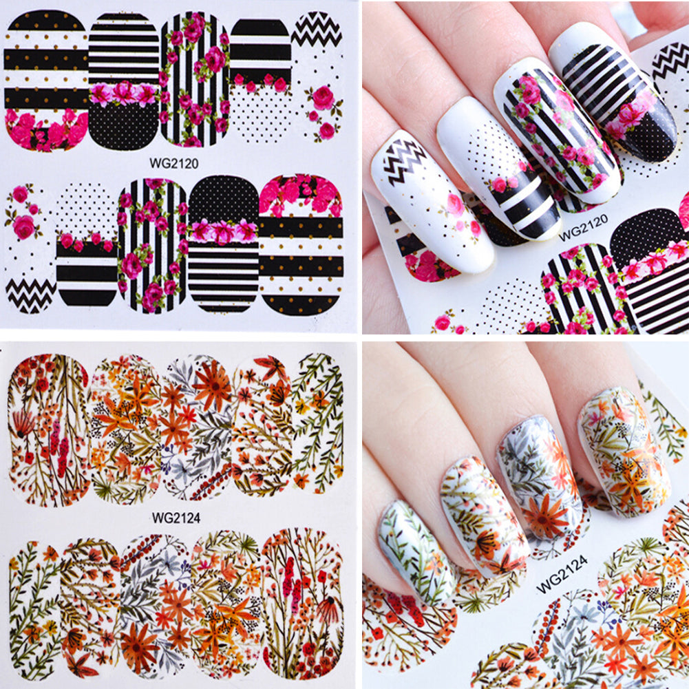 Colorful Flower Rose Design Water Decals Transfer Nail Art Stickers ...