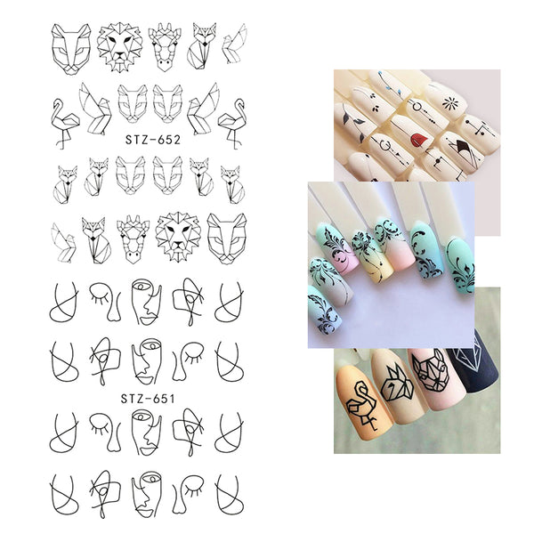 Black Hollow Sliders Water Decals Transfer Nail Stickers For Manicure